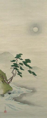 牧田種麿 月下流水図